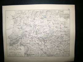 Battle of Leipzig, Germany: 1848 Antique Battle Plan. Johnston
